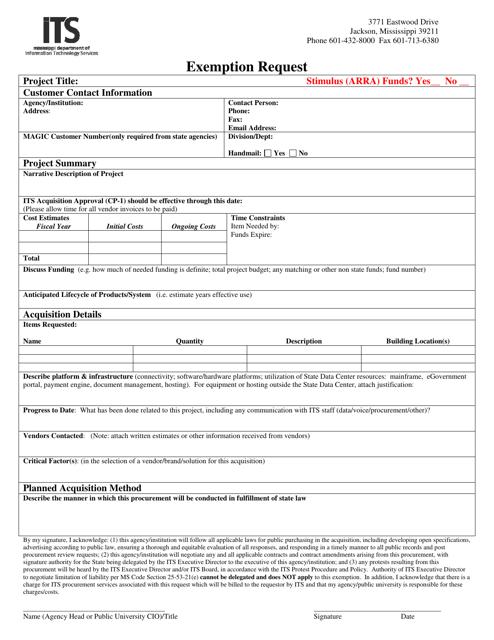 """Exemption Request Form"" - Mississippi Download Pdf"