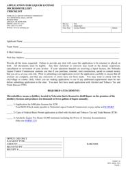 "Form 130 ""Application for Liquor License Microdistillery"" - Nebraska"