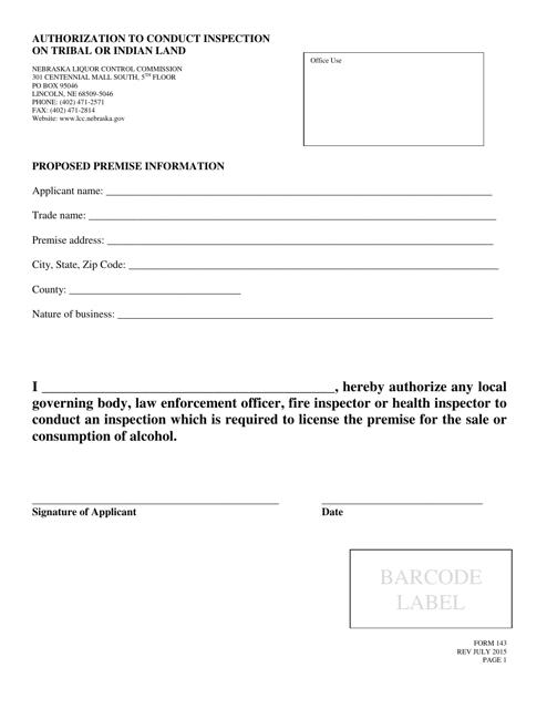 Form 143 Fillable Pdf