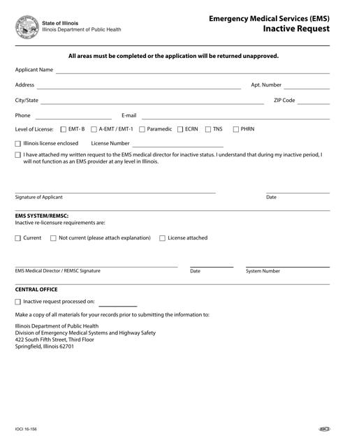 Form IOCI16-156 Printable Pdf
