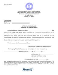 "Form HBC50-11 ""Affidavit of Assurances Pursuant of Krs 198b.060(10)"" - Kentucky"