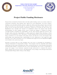 """""""Project Public Funding Disclosure Form"""" - Kentucky"""