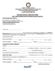 """""""Building Official Complaint Form"""" - Kentucky"""