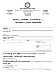 """""""Kentucky Temporary Structures Tent Fee Calculation Work Sheet"""" - Kentucky"""