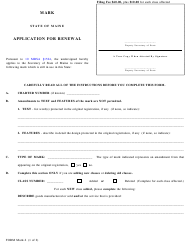 "Form MARK-2 ""Application for Renewal"" - Maine"