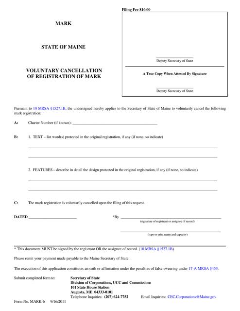 Form MARK-6  Printable Pdf