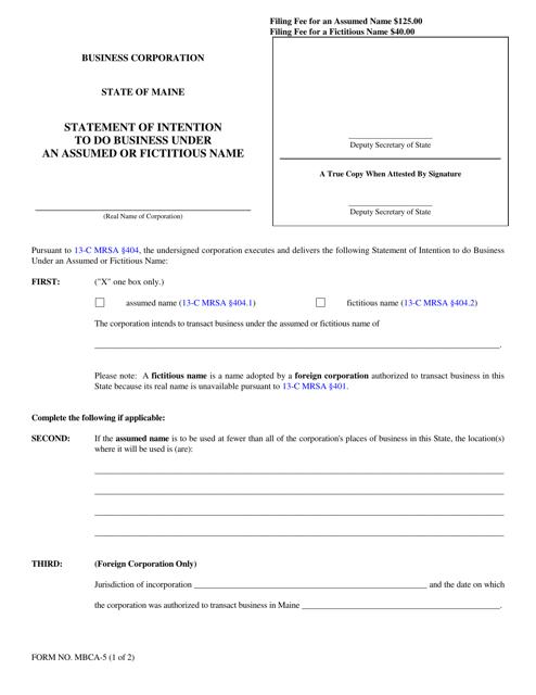 Form MBCA-5  Printable Pdf