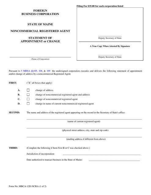 Form MBCA-12D-NCRA  Printable Pdf