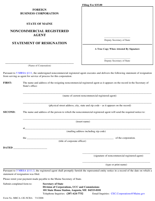 Form MBCA-12E-NCRA Printable Pdf
