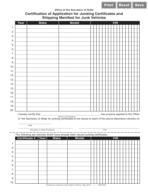 Form VSD 292 Download Fillable PDF, Certification of
