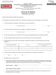 "Form DC-9 ""Articles of Merger (Subsidiary Into Parent)"" - Hawaii"