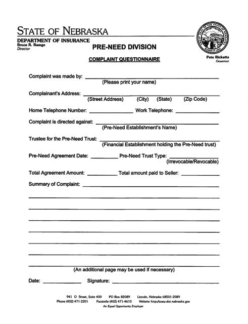 """Pre-need Complaint Questionnaire Form"" - Nebraska Download Pdf"