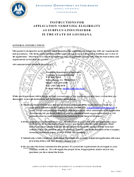 """Application Verifying Eligibility as Surplus Lines Insurer in the State of Louisiana"" - Louisiana"