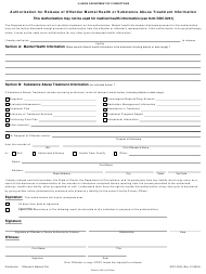 "Form DOC0240 ""Authorization for Release of Offender Mental Health or Substance Abuse Treatment Information"" - Illinois"