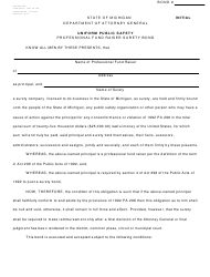 "Form DAG009-084 ""Uniform Public Safety Professional Fund Raiser Surety Bond - Initial"" - Michigan"