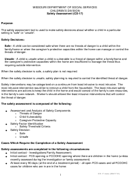 """Instructions for Form CD-17 """"Safety Assessment"""" - Missouri"""