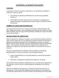 """Instructions for Form CD-54 """"Withdrawal of Request for Hearing"""" - Missouri"""