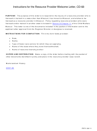 """Instructions for Form CD-68 """"Resource Provider Welcome Letter"""" - Missouri"""