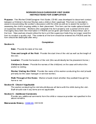 """Instructions for Form CD-82 """"Worker/Child/Caregiver Visit Guide"""" - Missouri"""