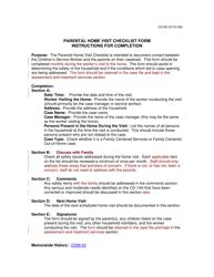 "Instructions for Form CD-83 ""Parental Home Visit Checklist Form"" - Missouri"