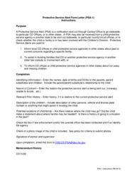 "Instructions for Form PSA-1 ""Protective Service Alert Form Letter"" - Missouri"