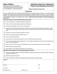 """Asbestos Supervisor Abatement Project Recordkeeping Checklist"" - Maine"