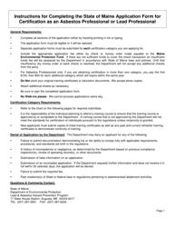 """Asbestos Professional Certification / Lead Professional Certification Application Form"" - Maine"