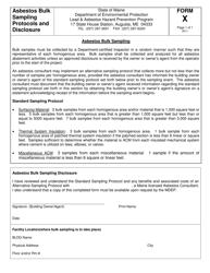 "Form X ""Asbestos Bulk Sampling Protocols and Disclosure"" - Maine"