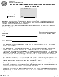 "Form HFS1433 ""Long Term Care Provider Agreement State-Operated Facility (Provider Type 34)"" - Illinois"