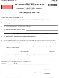 "Form LLP1 ""Statement of Qualification"" - Hawaii"