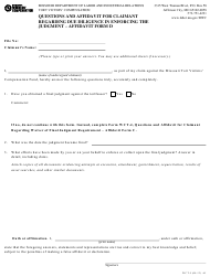 "Form WCT-5 ""Affidavit Form D - Questions and Affidavit for Claimant Regarding Due Diligence in Enforcing the Judgment"" - Missouri"