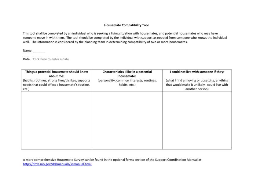 """Housemate Compatibility Tool Form"" - Missouri Download Pdf"