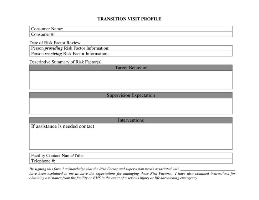 """Transition Visit Profile Form"" - Missouri Download Pdf"