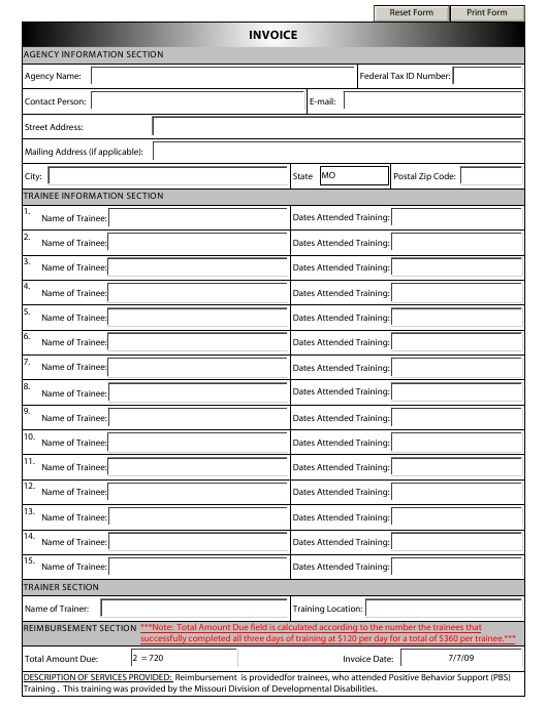 """Pbs Participant Invoice Form"" - Missouri Download Pdf"