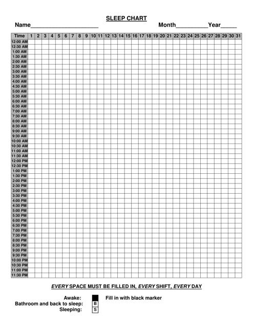 """Sleep Chart Template"" Download Pdf"