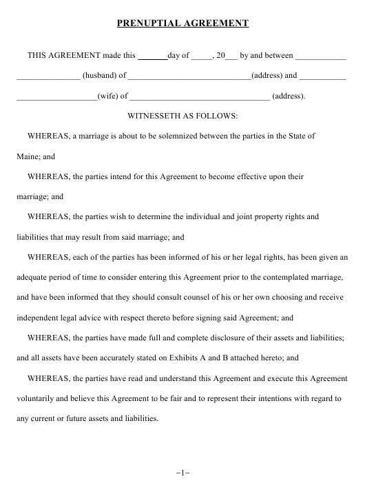 """Prenuptial Agreement Template"" - Maine Download Pdf"