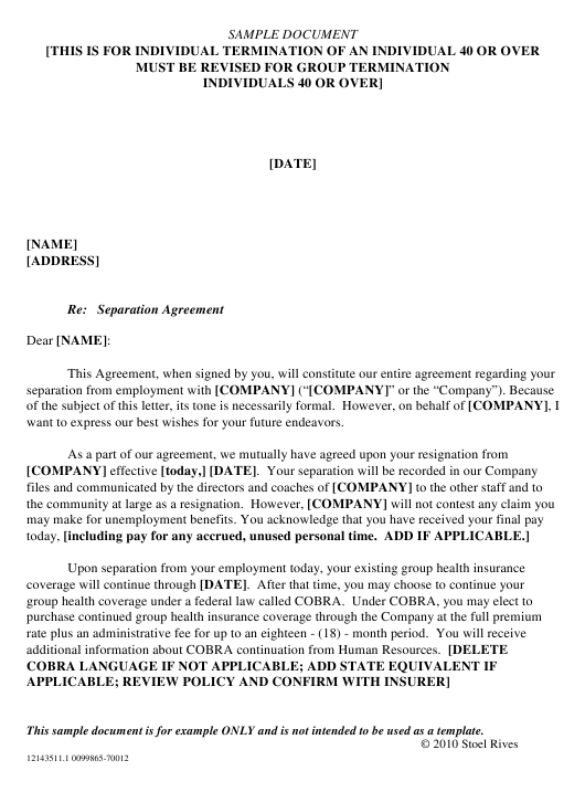 Sample Separation Agreement Form - Stoel Rives Download Pdf