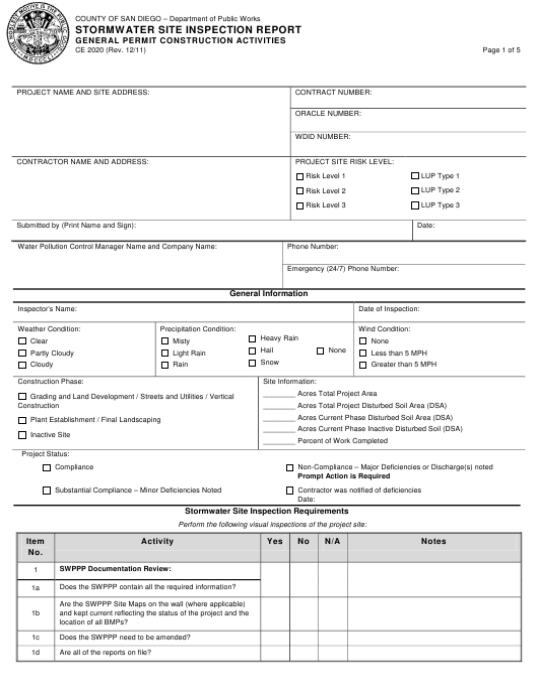 Form CE2020  Printable Pdf