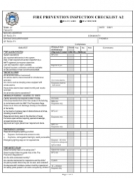 Fire Prevention Inspection Checklist Form - Yellowknife, Canada