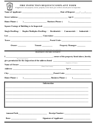 """Fire Inspection Request/Compliant Form"" - New Tecumseth, Ontario, Canada"