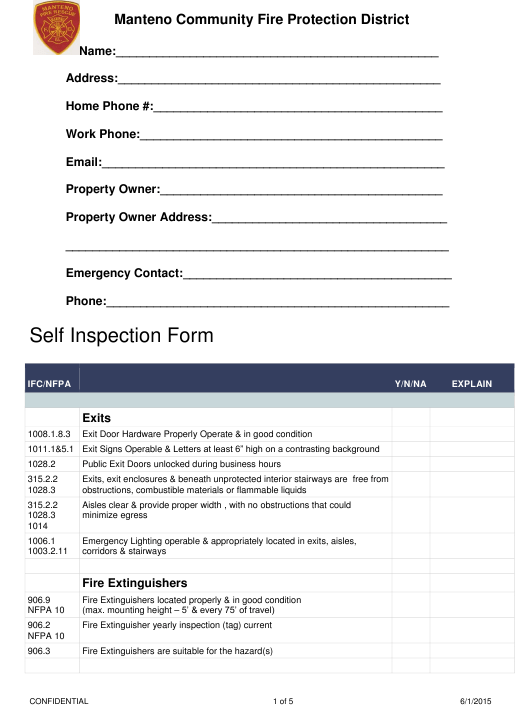 """Self Inspection Form - Manteno Community Fire Protection District"" - Manteno, Illinois Download Pdf"
