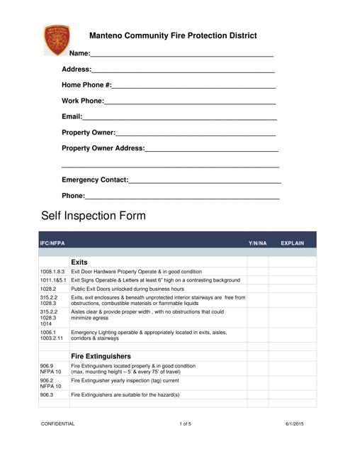 Self Inspection Form - Manteno Community Fire Protection District - Manteno, Illinois Download Pdf