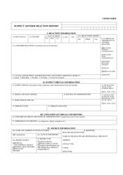 Suspect Adverse Reaction Report Form - Cioms