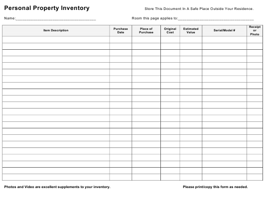 """""""Personal Property Inventory"""" Download Pdf"""