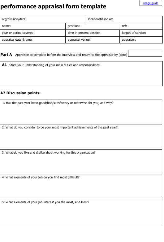 Performance Appraisal Form Template Download Printable PDF ...