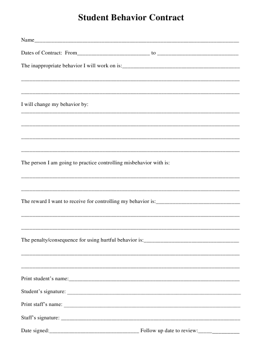"""Student Behavior Contract Template"" Download Pdf"