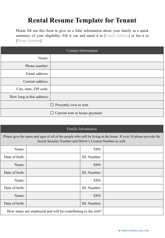 """Rental Resume Template for Tenant"" Download Pdf"
