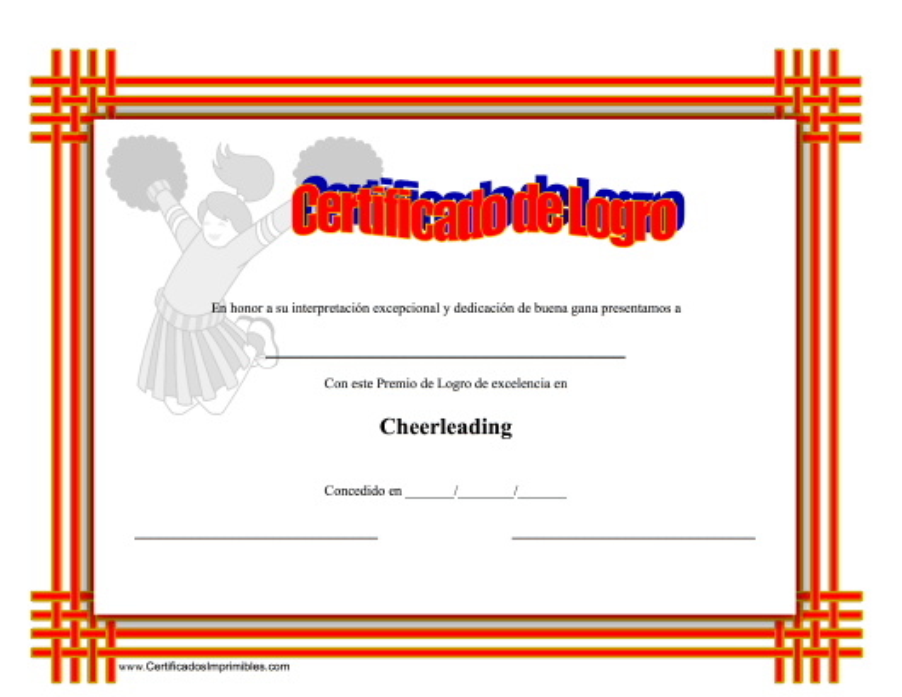 """""""Certificado De Logro En Cheerleading"""" (Spanish) Download Pdf"""