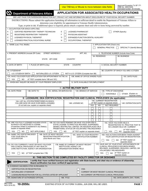 VA Form 10-2850c  Fillable Pdf