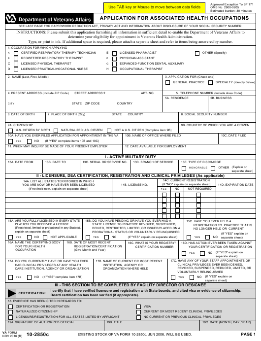 VA Form 10-2850c Fillable Pdf